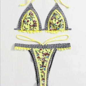 NEW Yellow paisley swim suit
